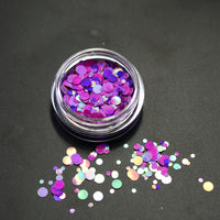 Multicolor Round Nail Glitter Pots, 1-3mm (set of 10)