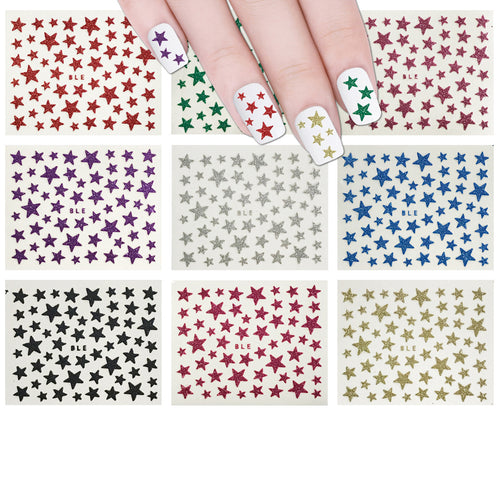 Glitter Stars Nail Stickers Sparkly Nail Art (10 sheets)