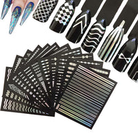 Holographic Nail Stickers Nail Strips 3D Nail Art (12 sheets)