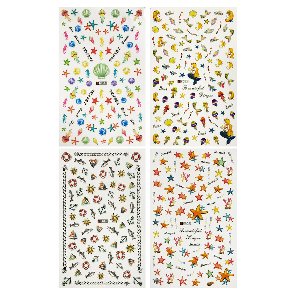 4 Sheets Nail Art Nail Stickers Set