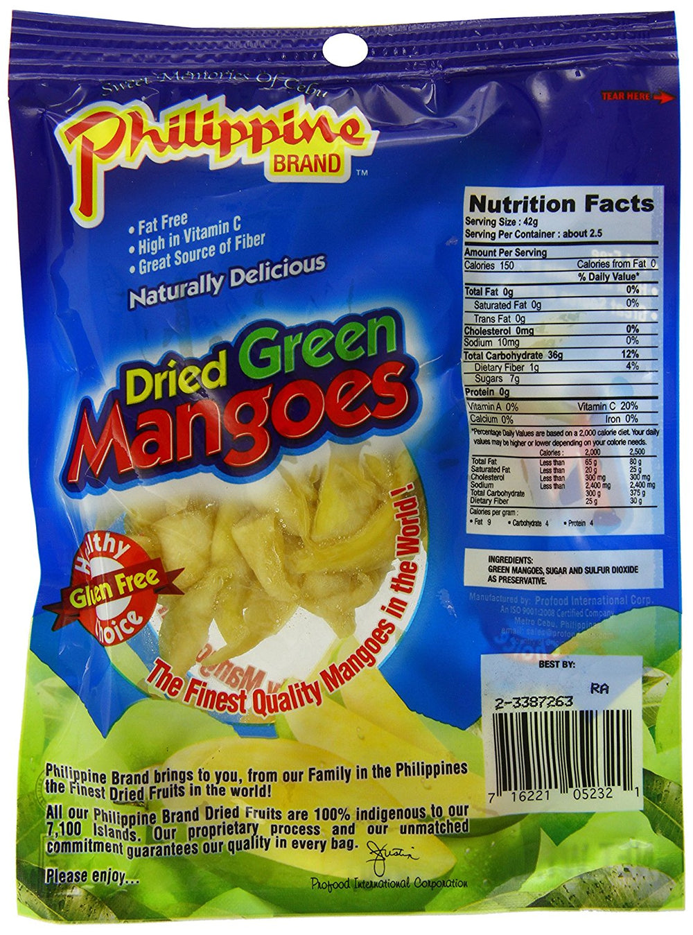 Philippine Brand Dried Green Mangoes, 3.5oz/100g