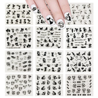 12 Sheets Black Cats Nail Stickers Set Nail Art