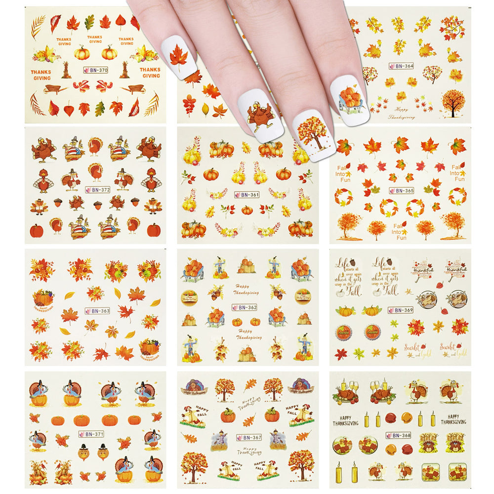 11 Sheets Fall Leaves Nails Thanksgiving Water Slide Nail Art Nail Decal Set Water Transfer Nail Art Sheets