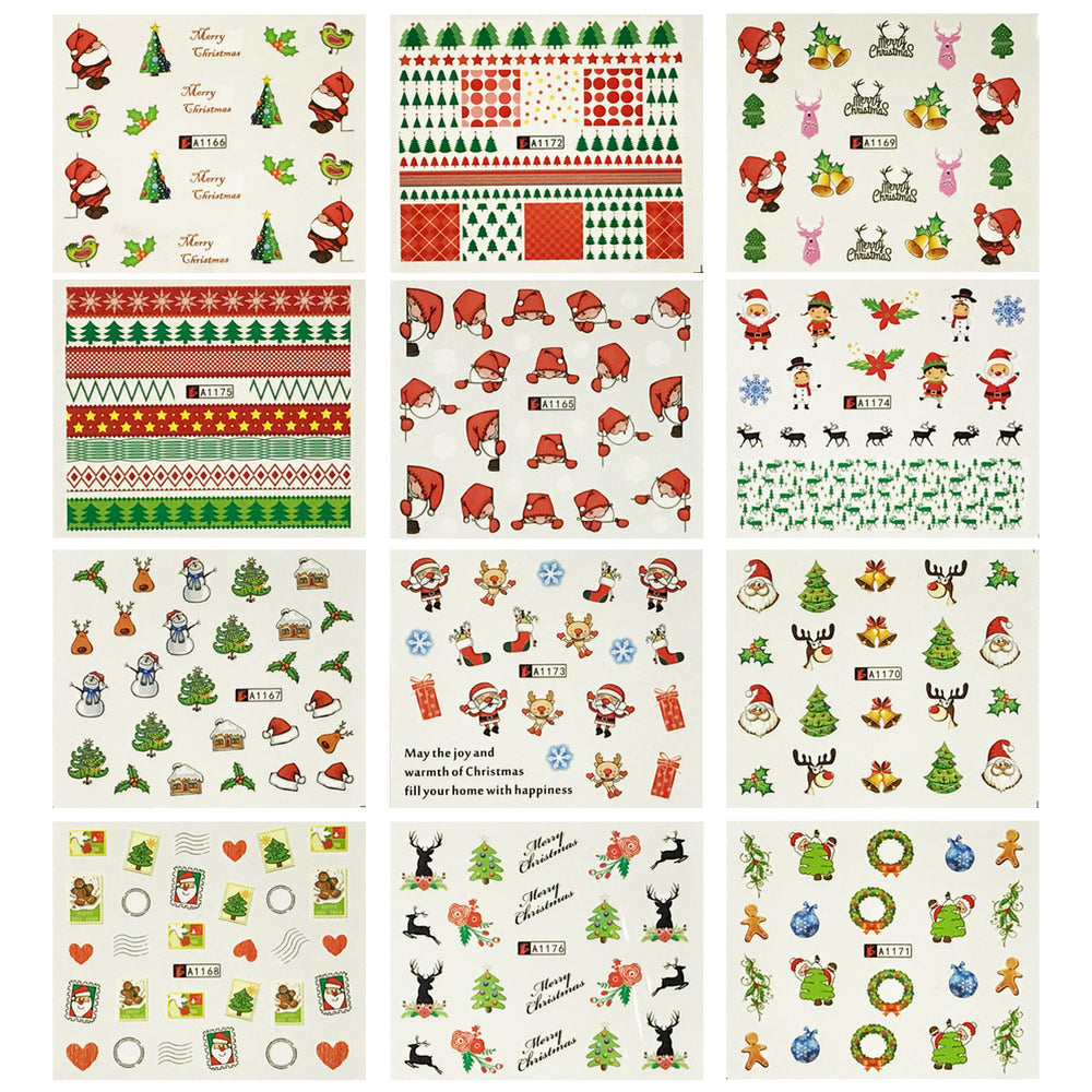 12 Sheets Large Christmas Water Slide Nail Art Nail Decal Sheets