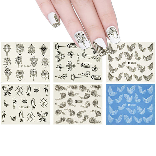 10 Sheets Henna Nails Mehndi Nails Water Slide Nail Art Nail Decal Set Water Transfer Nail Art Sheets