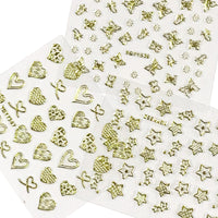24 Sheets Gold Crowns, Gold Stars & Gold Vines Nail Stickers Set Nail Art