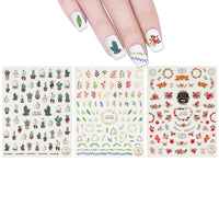 3 Sheets Succulent Plants & Wreaths Nail Art Succulent Plants & Wreaths Nail Stickers