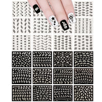 Sparkly Black & White Flower Nail Art Sparkle Flower Nail Stickers (24 sheets)