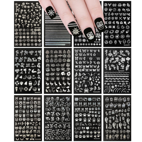 Holographic Animals, Flowers & Shapes Nail Art Holographic Nail Stickers (12 sheets)