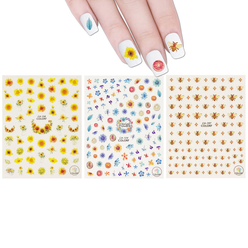 Buzzing Nature Nail Art Bees & Sunflowers Nail Stickers (3 sheets)