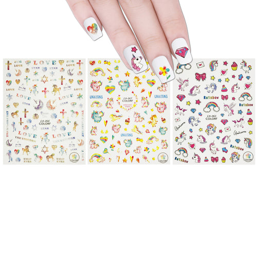 Dreamy Unicorns Nail Art Rainbows & Unicorns Nail Stickers (3 sheets)