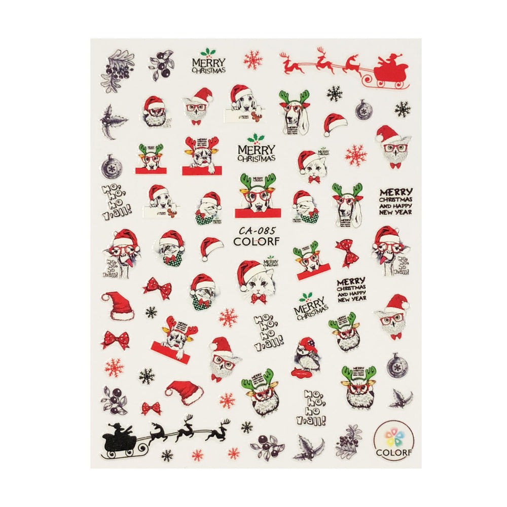 Jolly Animals Christmas Nail Art Christmas Nail Stickers (3 sheets)