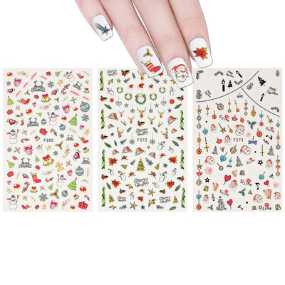 Merry Christmas Nail Art Christmas Nail Stickers (3 sheets)