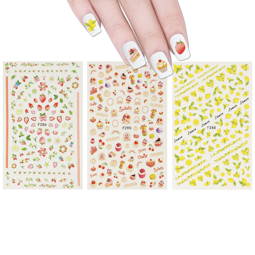 Lemon Fruit Cupcakes & Macaroons Nail Art Fruits & Cupcakes Nail Stickers (3 sheets)
