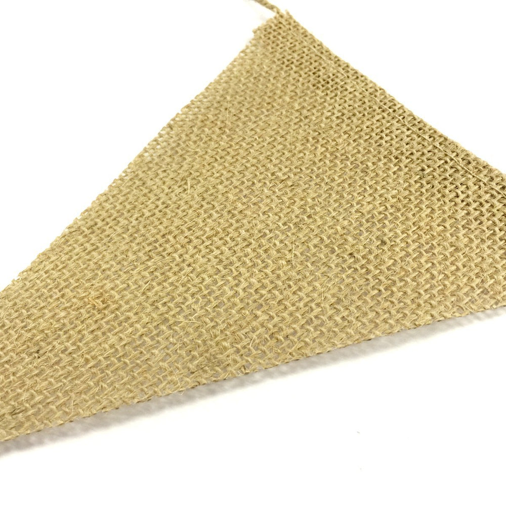 13pc Burlap Banner Vintage Burlap Triangle Flag Banner (10 feet, 13 banners)