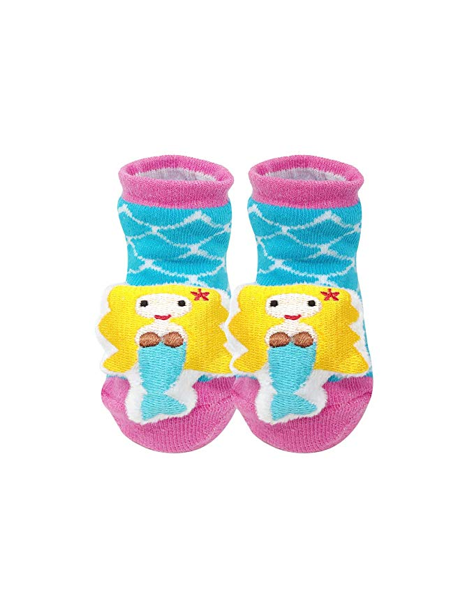 Baby Girl Booties 3D Non-Skid Baby Socks (Set of 6)