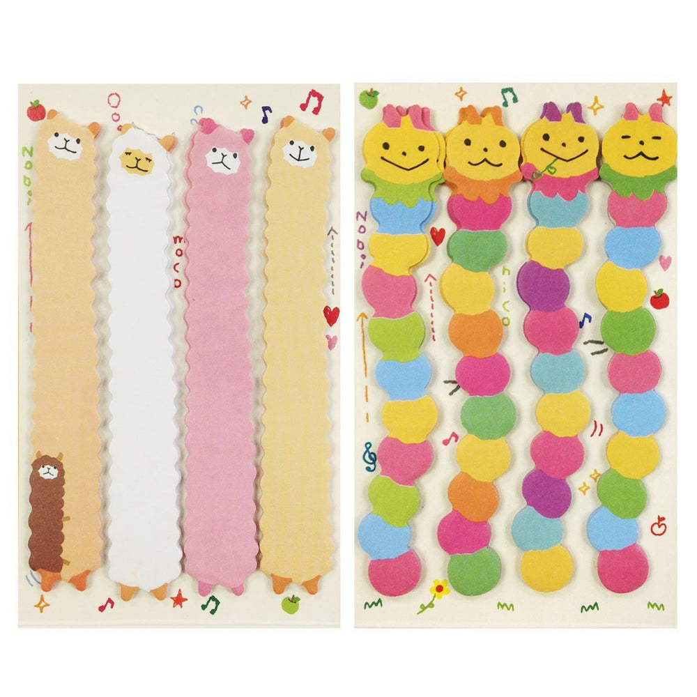 Llama & Caterpillar Note Tabs Bookmark Flags, set of 2