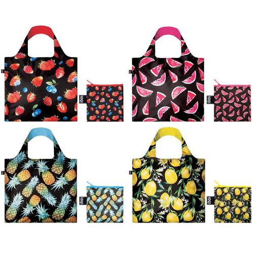 LOQI Juicy Collection Pouch Reusable Bags, set of 4