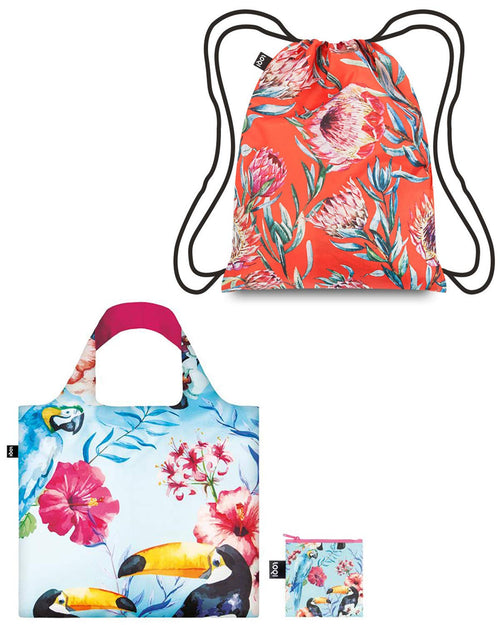 LOQI WILD Reusable Shopping Bag & Backpack (set of 2), Birds and Sugarbush