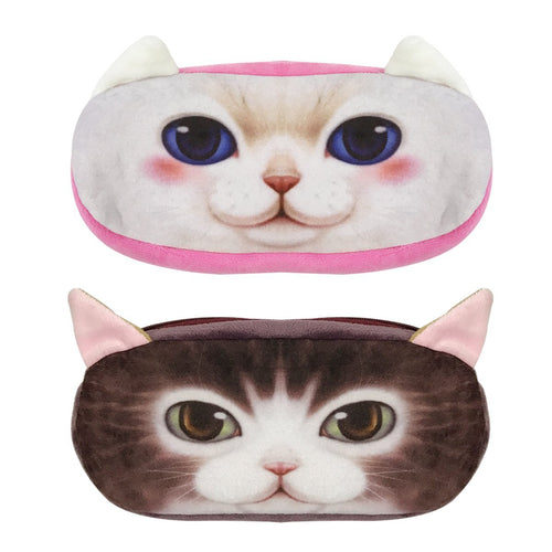 3D Animal Plush Cat & Plush Dog Pencil Pouch (set of 2)