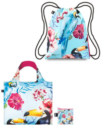 LOQI WILD Reusable Shopping Bag & Backpack (set of 2), Birds