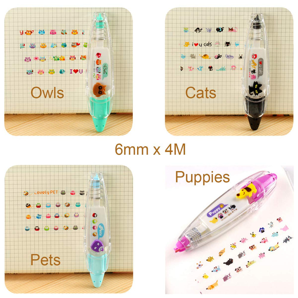 Animals Decorative Correction Tape Pens Novelty Stationery Supply (set of 4)