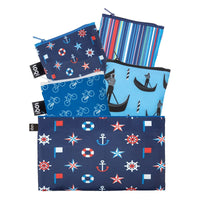 LOQI Nautical Travel Collection Pouch Reusable Bags, set of 4