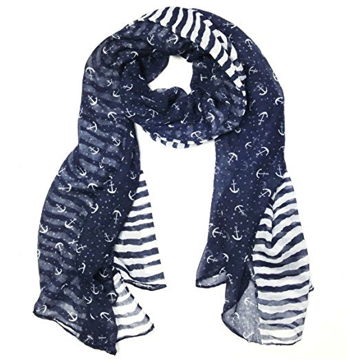 "Stripes & Anchor Marine Scarf Nautical Scarf Lightweight Scarf (72"" x 42"")"