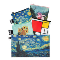 LOQI Museum 3 Collection Pouch Reusable Bags, set of 4