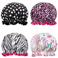 Fancy Shower Caps Bath Caps (4 pack), Wild Side