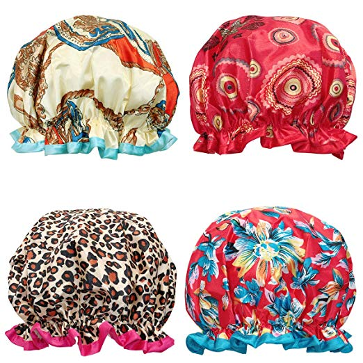 Fancy Shower Caps Bath Caps (4 pack), Exotic