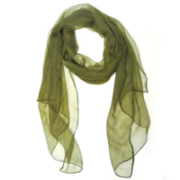 Solid Color Lightweight 100% Silk Long Scarf