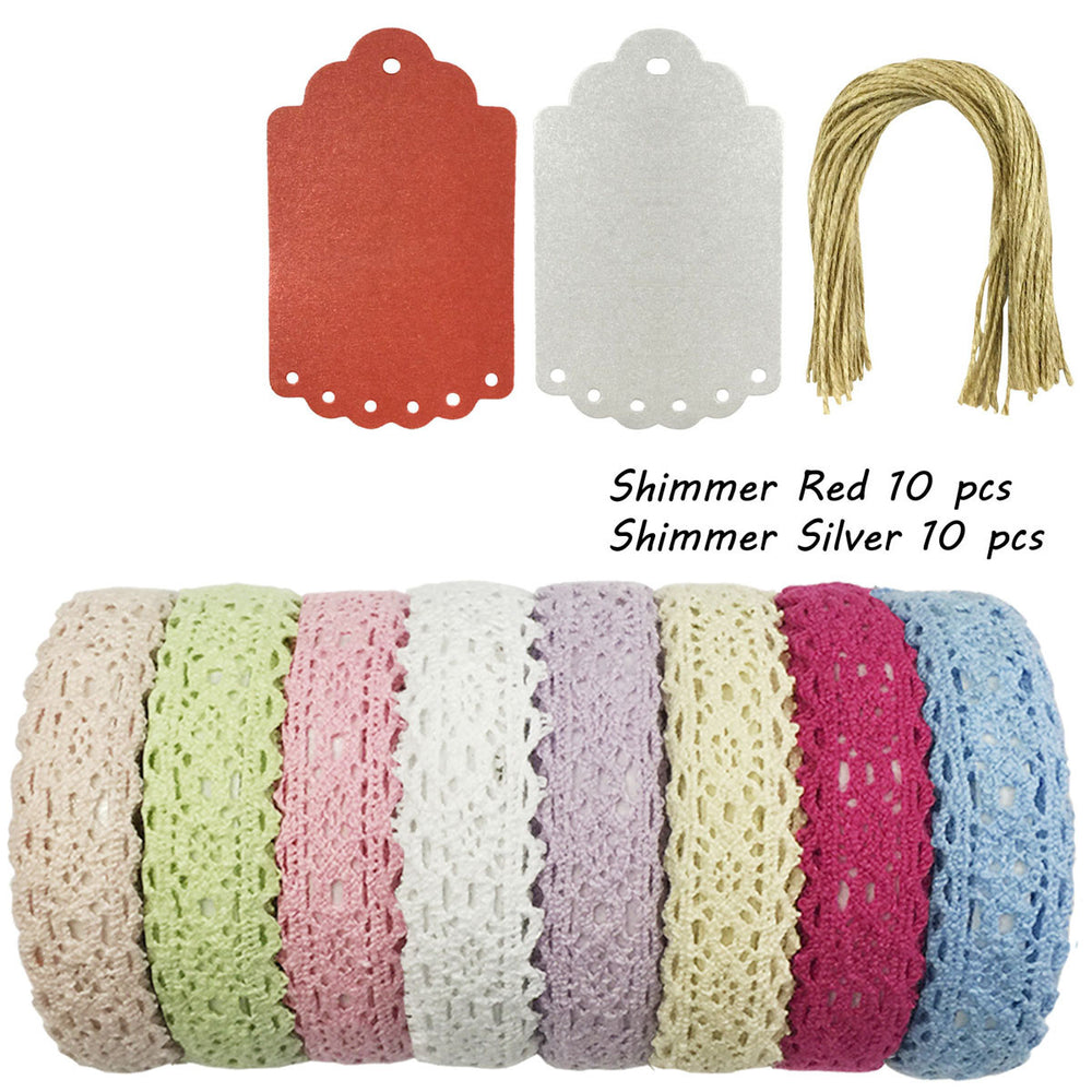 Lace Fabric Tapes & Shimmer Gift Tags Kit (set of 8)