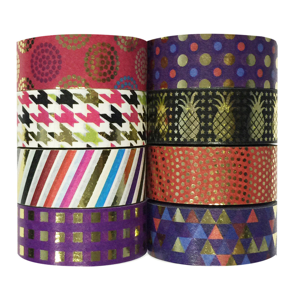 Multi-color Gold Foil Washi Tapes (set of 8)