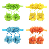Baby Girl Barefoot Flower Sandals & Headbands Set (4 pack)