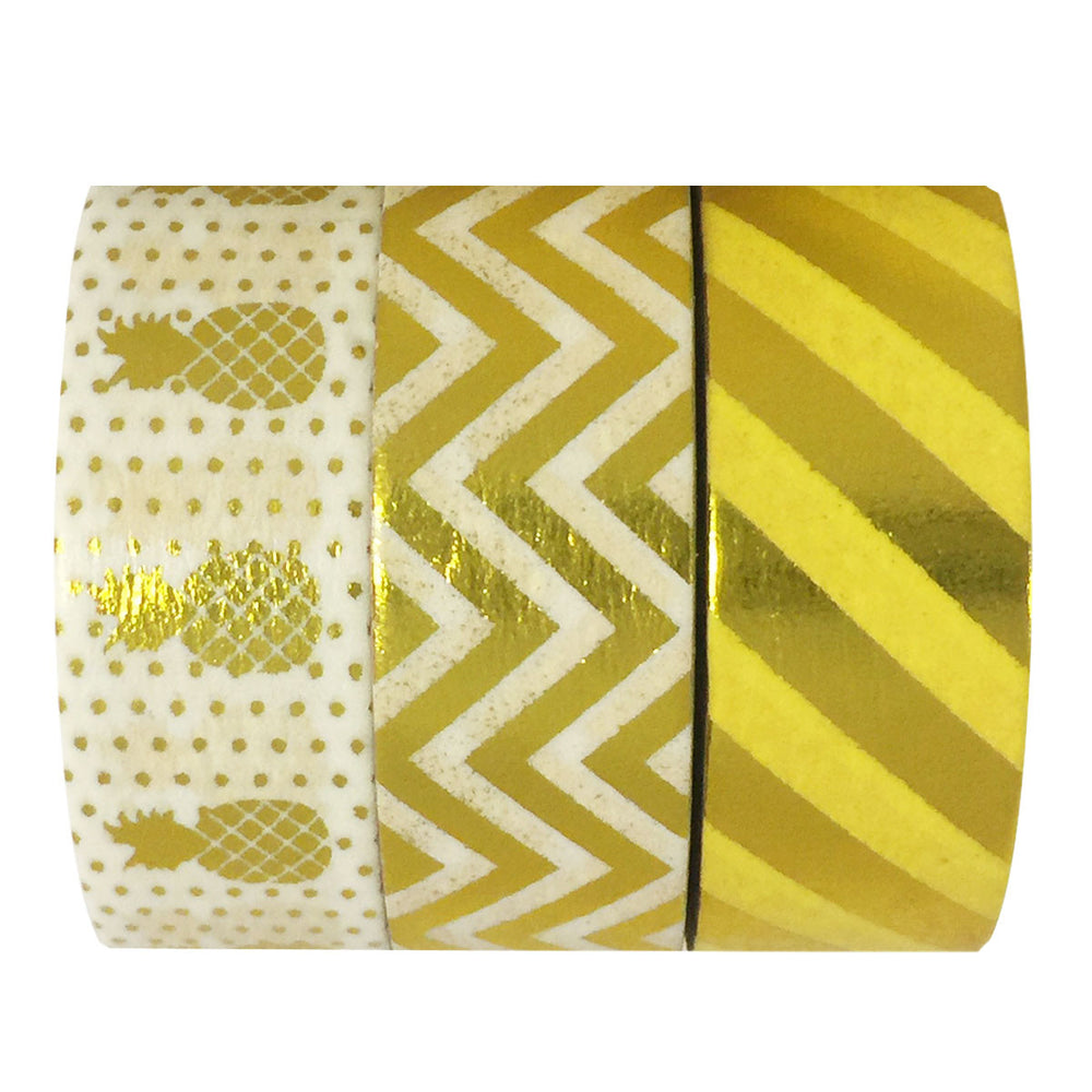 Pineapple Paradise Gold Foil Washi Tapes (set of 3)