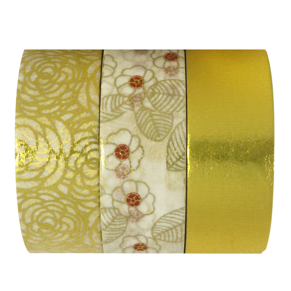 Gold Bloom Gold Foil Washi Tapes (set of 3)