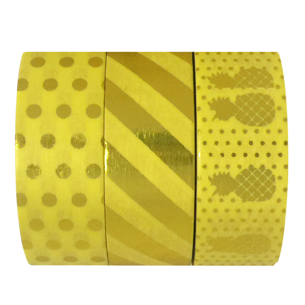 Yellow Paradise Gold Foil Washi Tapes (set of 3)