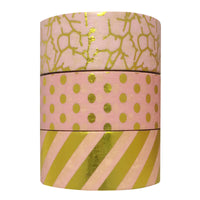 Fun with Pink Gold Foil Washi Tapes (set of 3)