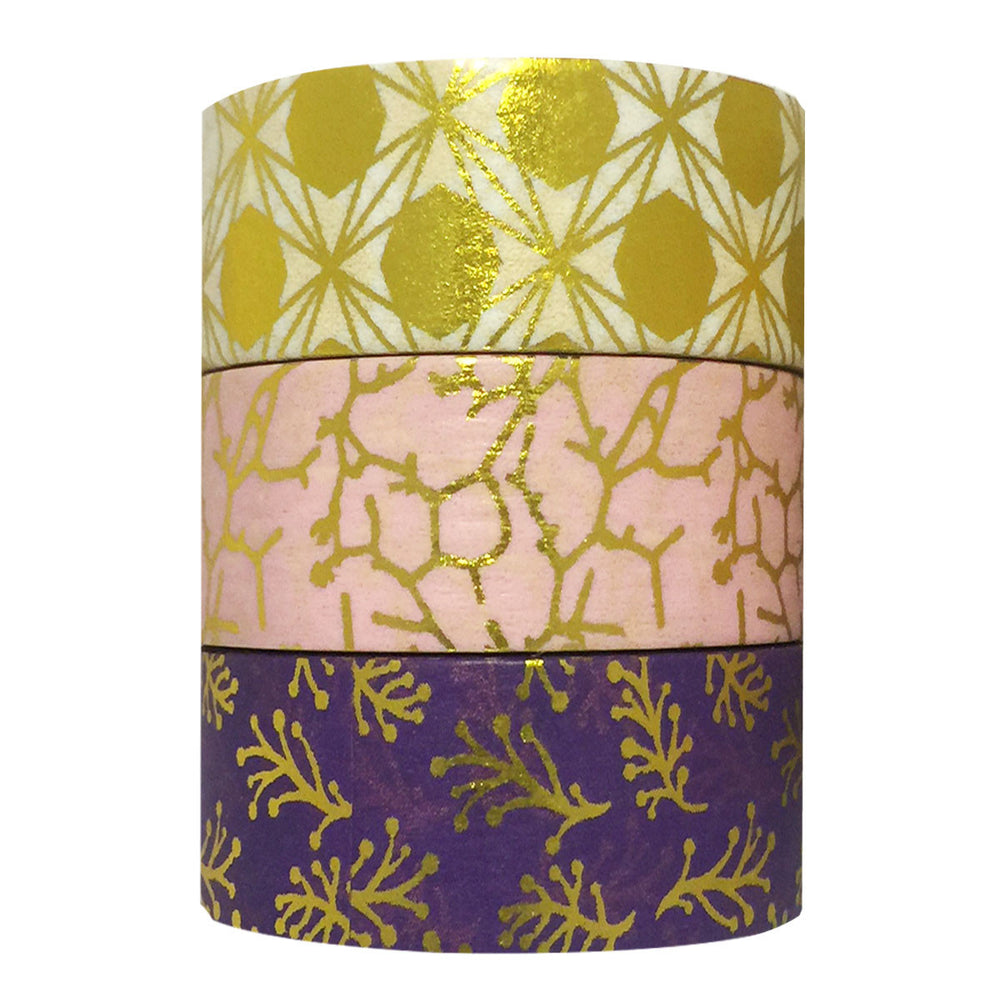 Pink and Purple Gold Foil Washi Tapes (set of 3)
