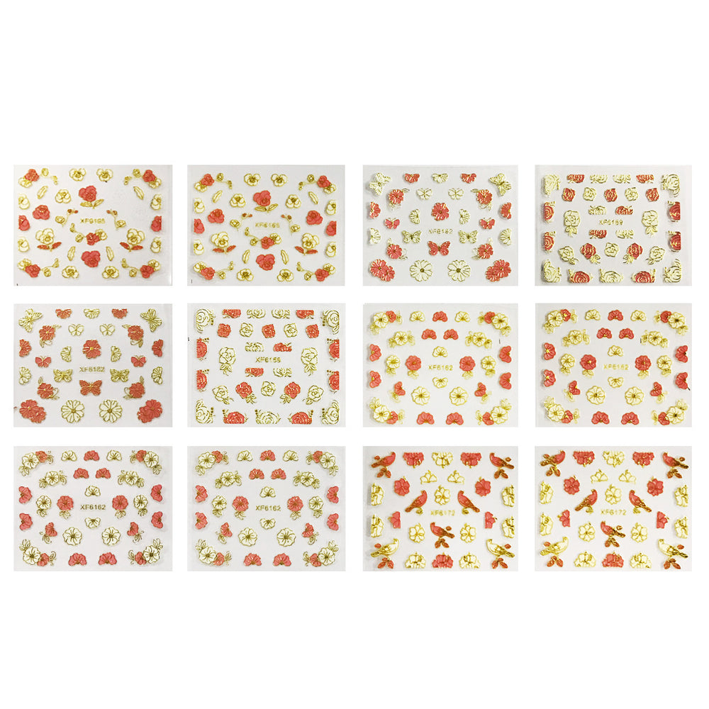 Pink & White Flowers, Hearts & Lace Nail Art Nail Stickers (50 sheets)