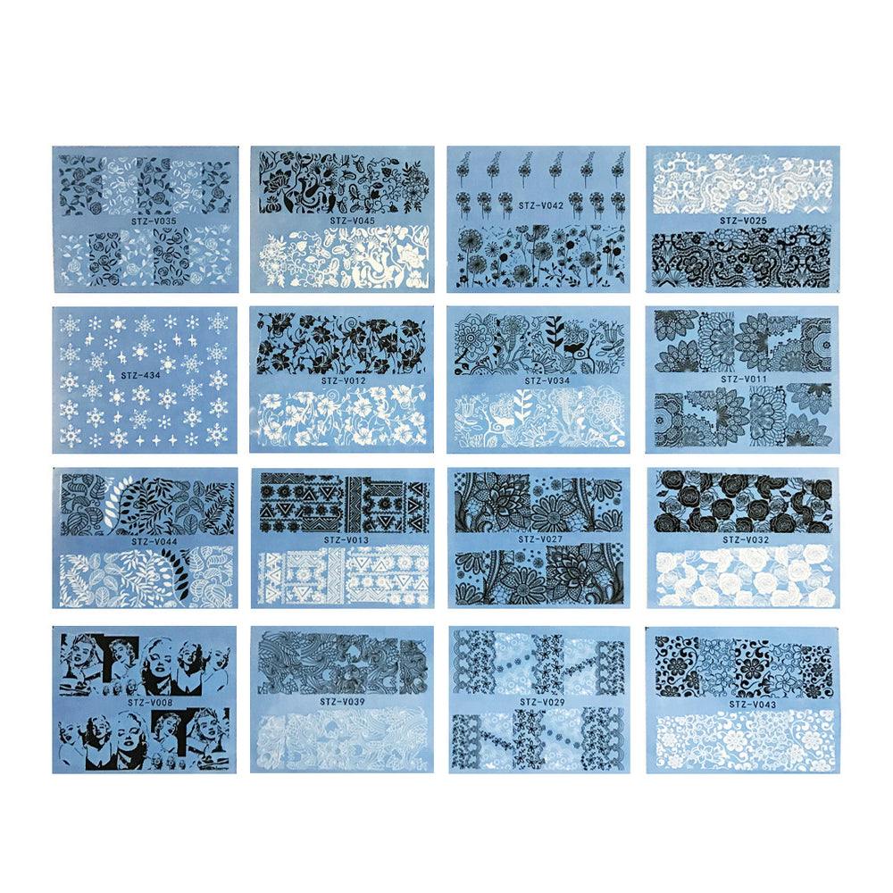 Black & White Water Slide Nail Art Nail Decal Sheets (48 sheets)