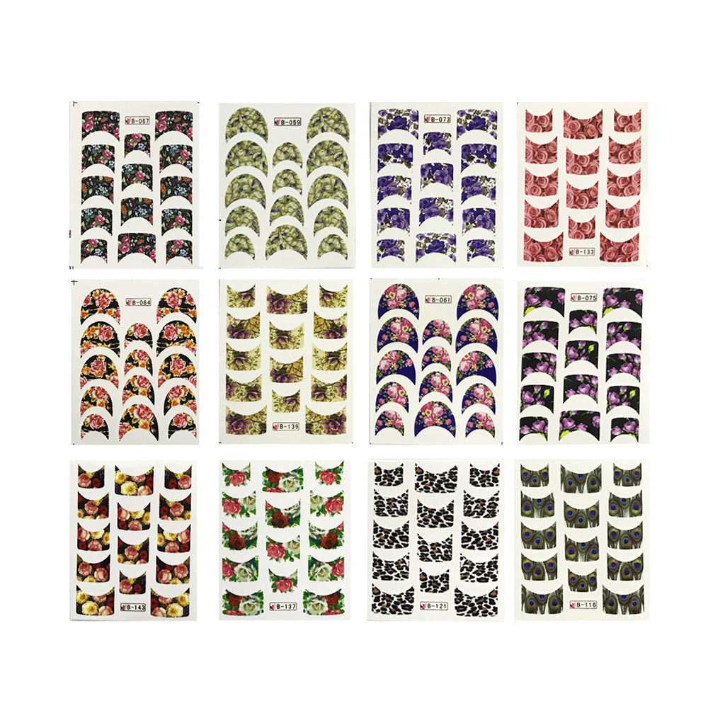 Flowers French Tip Water Slide Nail Art Nail Decals (44 sheets/600+ ...