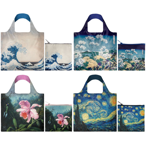 LOQI Museum 4 Collection Pouch Reusable Bags, set of 4