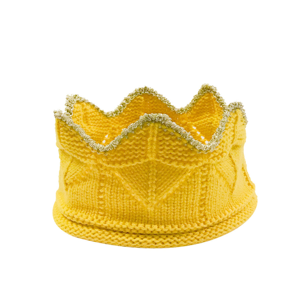 Crochet Knit Crown Headband with Gold Trim