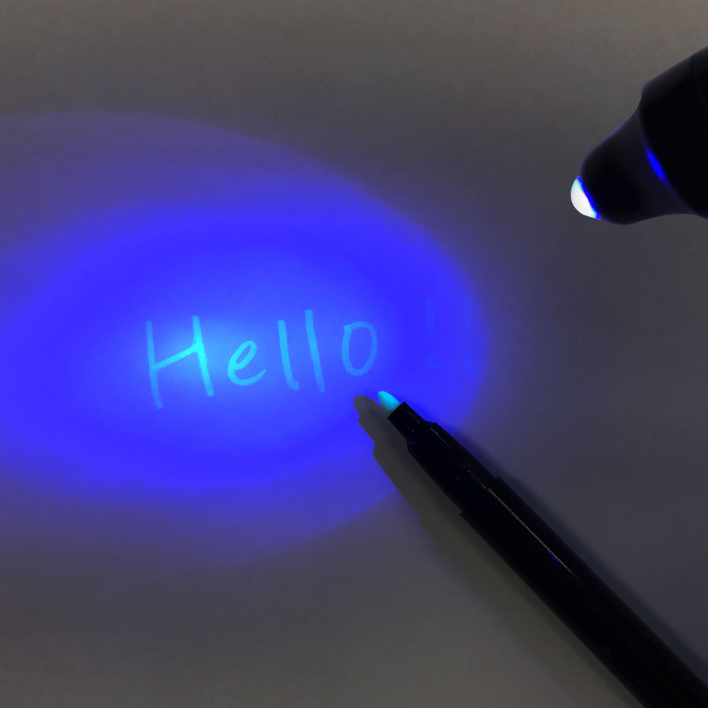 Invisible Ink Spy Pen with Built in UV Light, Secret Message Writer (Set of 7)