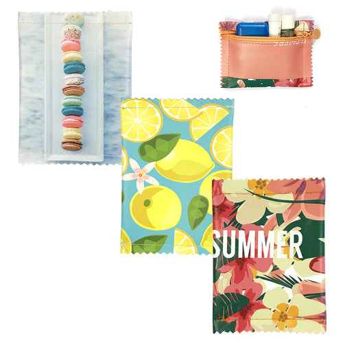 Flat Zipper Coin Pouch/Accessory Pouch (set of 3), Summer Fun