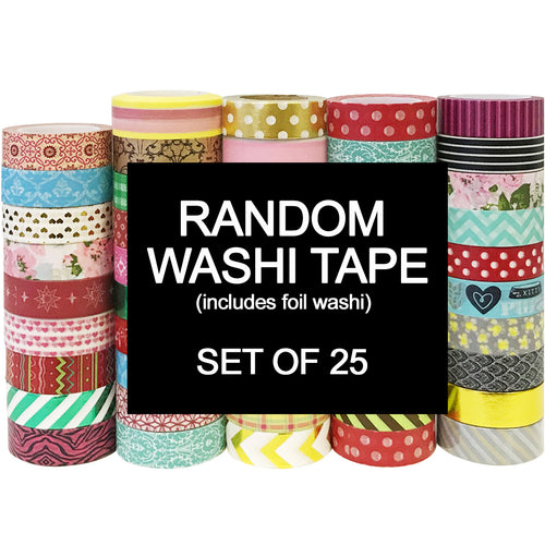 25 Random Washi Tapes, Full Rolls (includes unique patterns, foil & glitter Washi)
