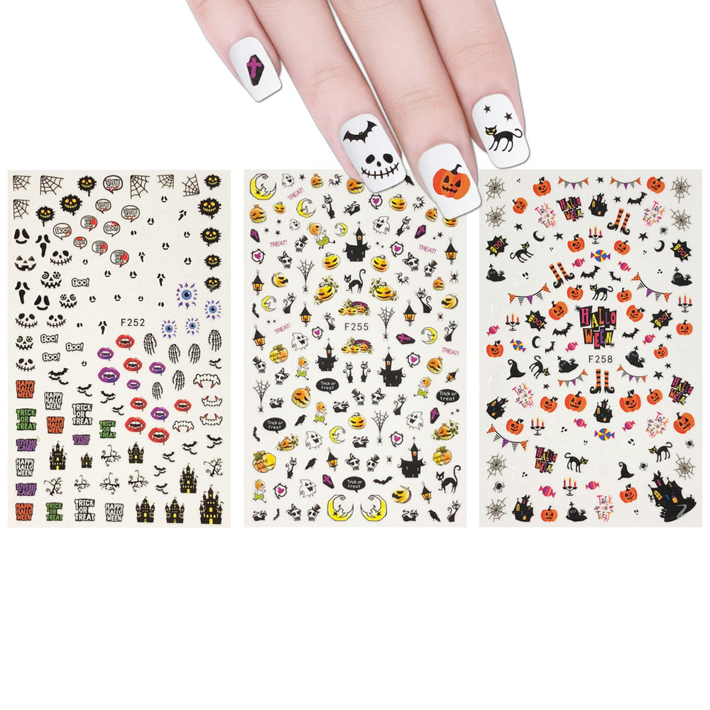 Spooky Halloween Nail Art Halloween Nail Stickers (3 sheets)
