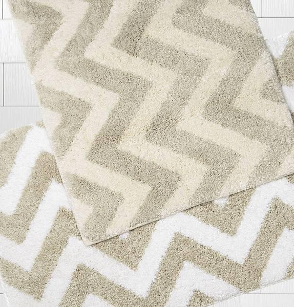 Linen Chevron Bath Rugs
